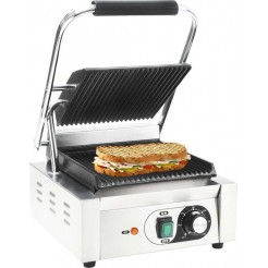 vidaXL Contactgrill Panini grill gegroefd 1800W 32x41x19 cm roestvrij staal